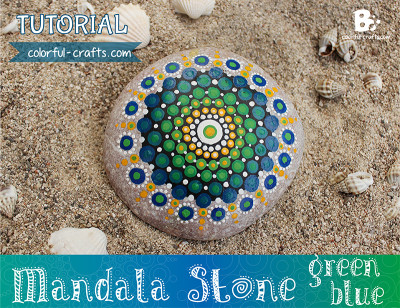 Mandala Stone Tutorial – green blue